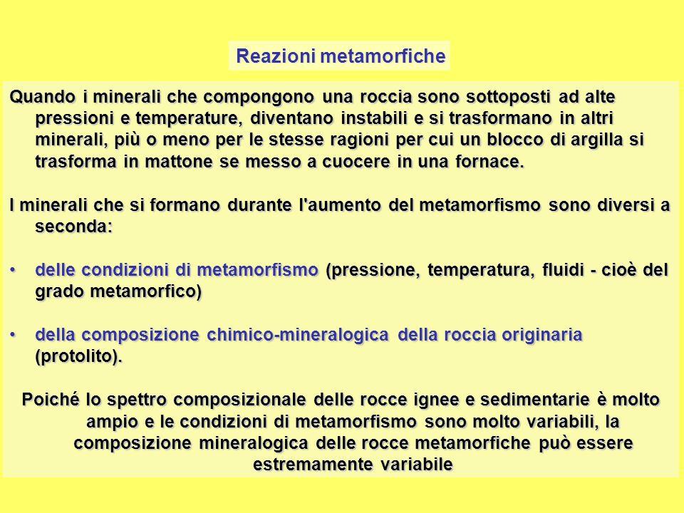 Reazioni metamorfiche Le reazioni metamorfiche avvengono in seguito a diversi meccanismi.