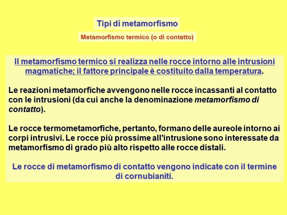 Tipi di metamorfismo Metamorfismo termico (o di contatto)