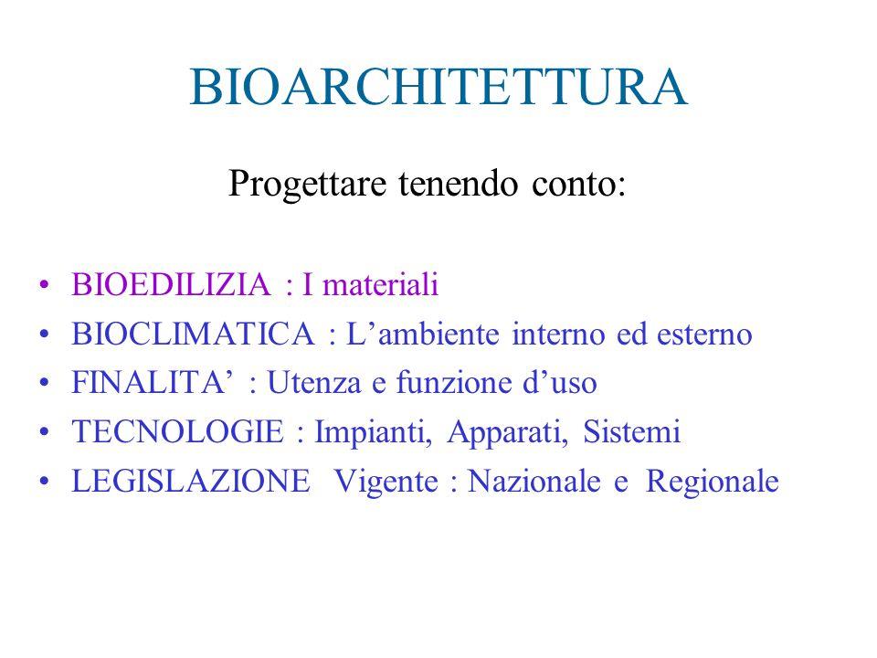 BIOARCHITETTURA Progettare tenendo conto: BIOEDILIZIA : I materiali BIOCLIMATICA : L'ambiente interno ed esterno FINALITA' : Utenza e funzione d'uso T
