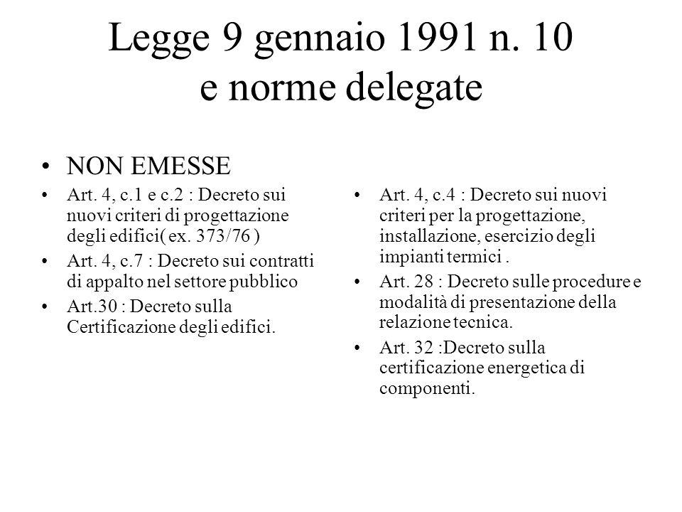 Legge 9 gennaio 1991 n. 10 e norme delegate NON EMESSE Art. 4, c.1 e c.2 : Decreto sui nuovi criteri di progettazione degli edifici( ex. 373/76 ) Art.