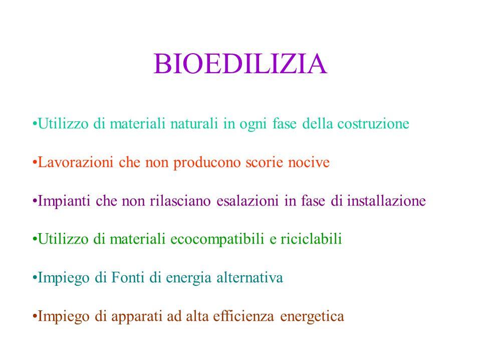 BIOEDILIZIA Utilizzo di materiali naturali in ogni fase della costruzione Lavorazioni che non producono scorie nocive Impianti che non rilasciano esal