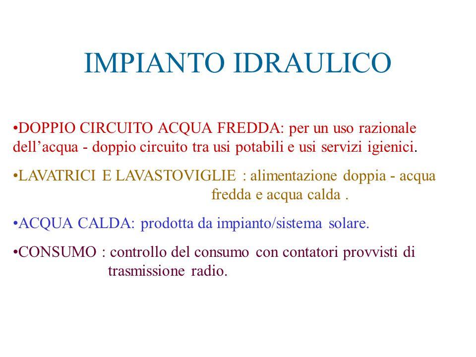 IMPIANTO IDRAULICO DOPPIO CIRCUITO ACQUA FREDDA: per un uso razionale dell'acqua - doppio circuito tra usi potabili e usi servizi igienici. LAVATRICI