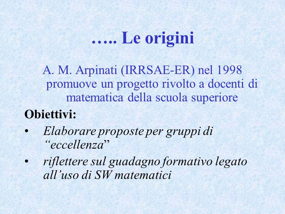 ….. Le origini A. M. Arpinati (IRRSAE-ER) nel 1998 promuove un progetto rivolto a docenti di matematica della scuola superiore Obiettivi: Elaborare pr
