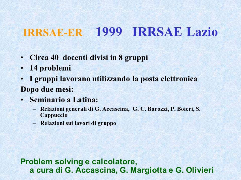 IRRSAE-ER 1999 IRRSAE Lazio Circa 40 docenti divisi in 8 gruppi 14 problemi I gruppi lavorano utilizzando la posta elettronica Dopo due mesi: Seminari
