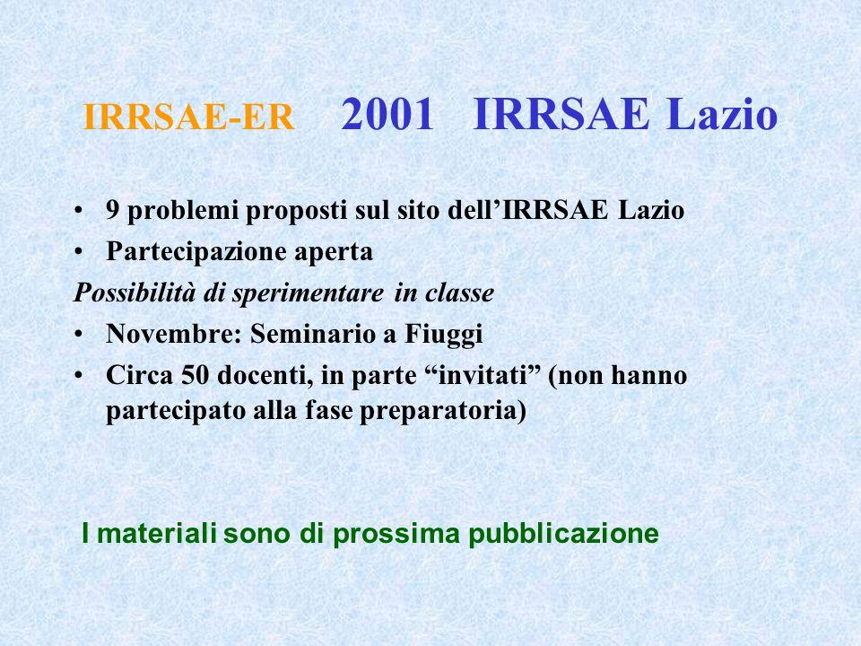 IRRSAE-ER 2001 IRRSAE Lazio 9 problemi proposti sul sito dell'IRRSAE Lazio Partecipazione aperta Possibilità di sperimentare in classe Novembre: Semin