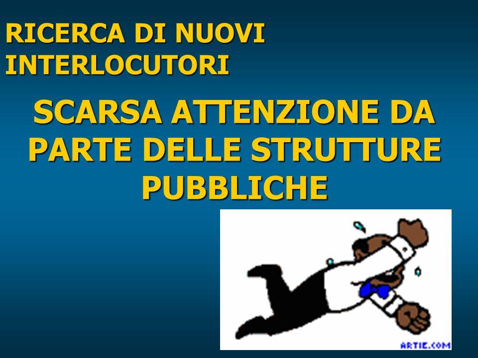 RICERCA DI NUOVI INTERLOCUTORI SCARSA ATTENZIONE DA PARTE DELLE STRUTTURE PUBBLICHE