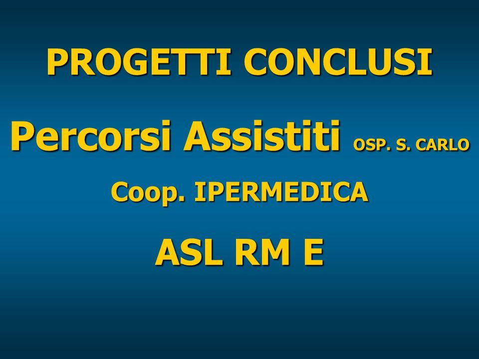 PROGETTI CONCLUSI Percorsi Assistiti OSP. S. CARLO Coop. IPERMEDICA ASL RM E