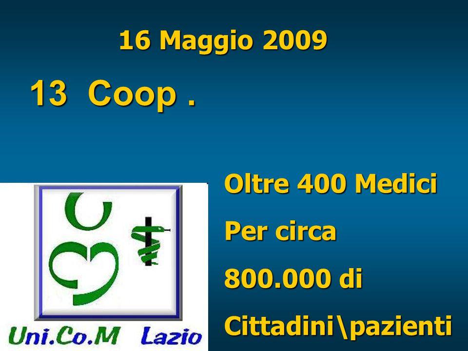 16 Maggio 2009 13 Coop. Oltre 400 Medici Per circa 800.000 di Cittadini\pazienti