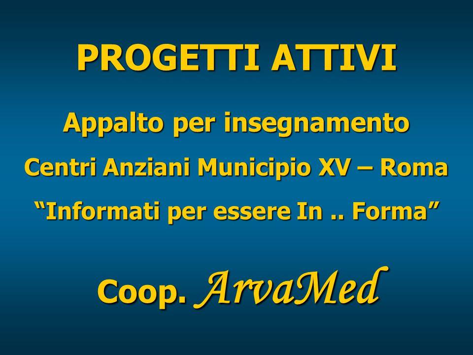PROGETTI ATTIVI Appalto per insegnamento Centri Anziani Municipio XV – Roma Informati per essere In..