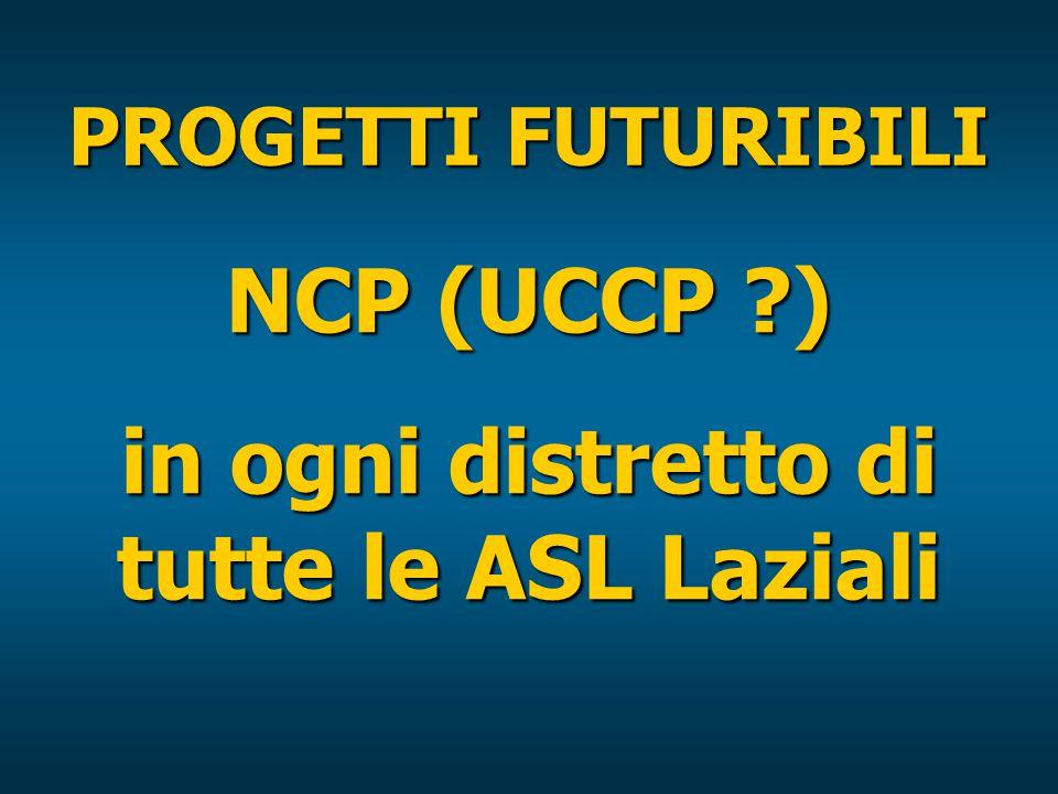 PROGETTI FUTURIBILI NCP (UCCP ) in ogni distretto di tutte le ASL Laziali
