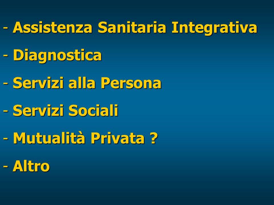 - Assistenza Sanitaria Integrativa - Diagnostica - Servizi alla Persona - Servizi Sociali - Mutualità Privata .
