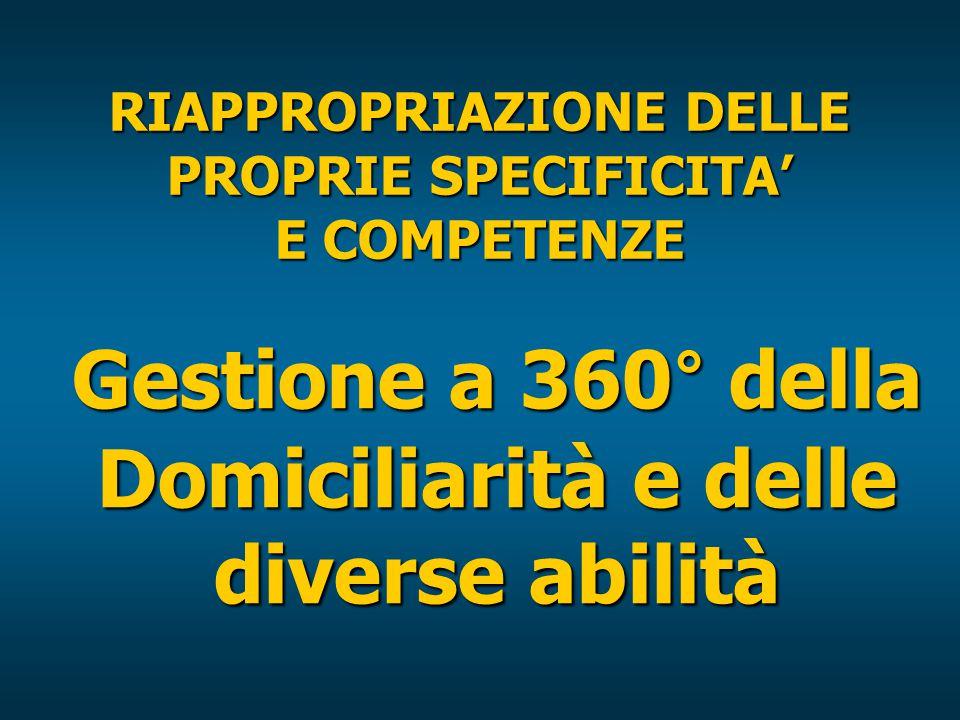 RIAPPROPRIAZIONE DELLE PROPRIE SPECIFICITA' E COMPETENZE Gestione a 360° della Domiciliarità e delle diverse abilità