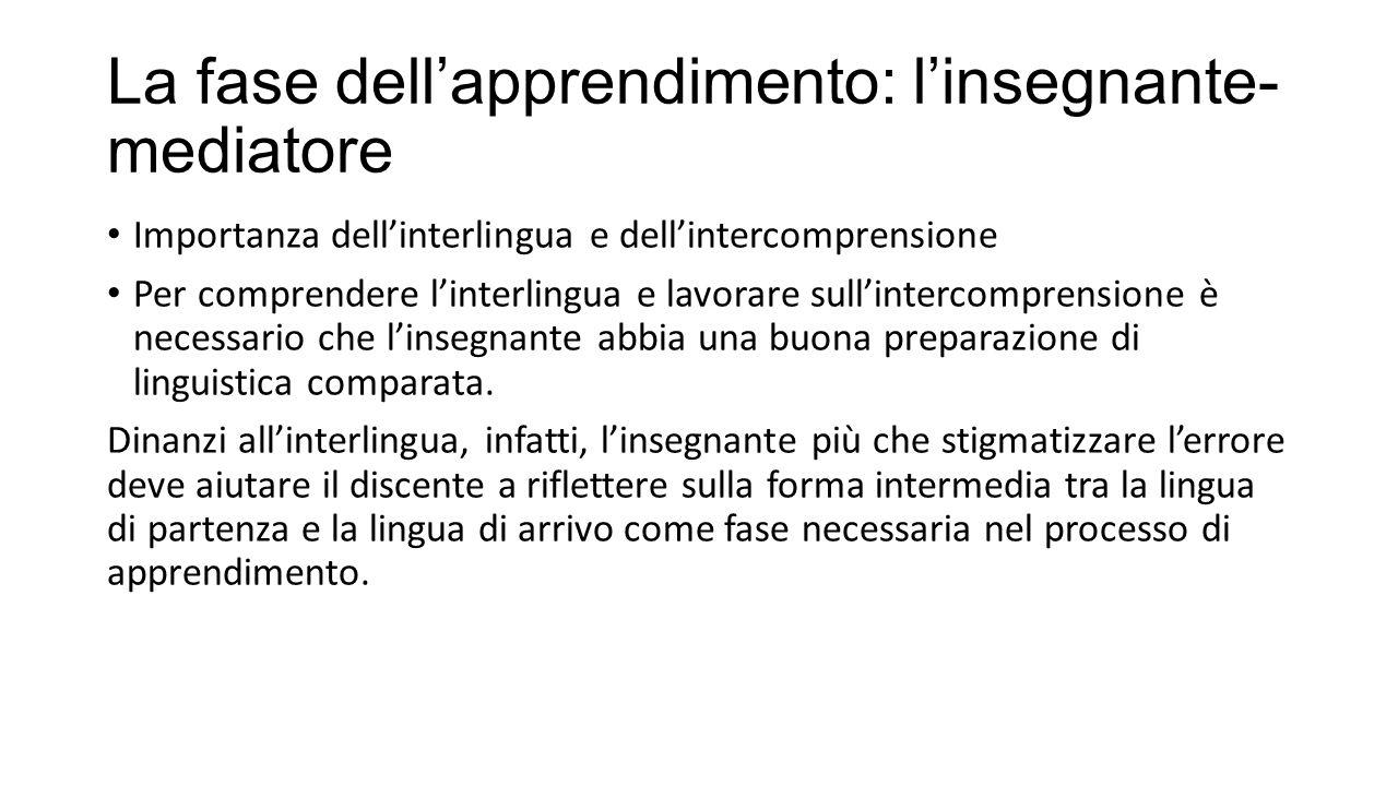 La fase dell'apprendimento: l'insegnante- mediatore Importanza dell'interlingua e dell'intercomprensione Per comprendere l'interlingua e lavorare sull'intercomprensione è necessario che l'insegnante abbia una buona preparazione di linguistica comparata.