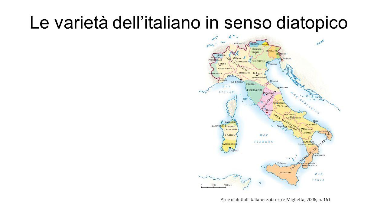 Le varietà dell'italiano in senso diatopico Aree dialettali italiane: Sobrero e Miglietta, 2006, p.