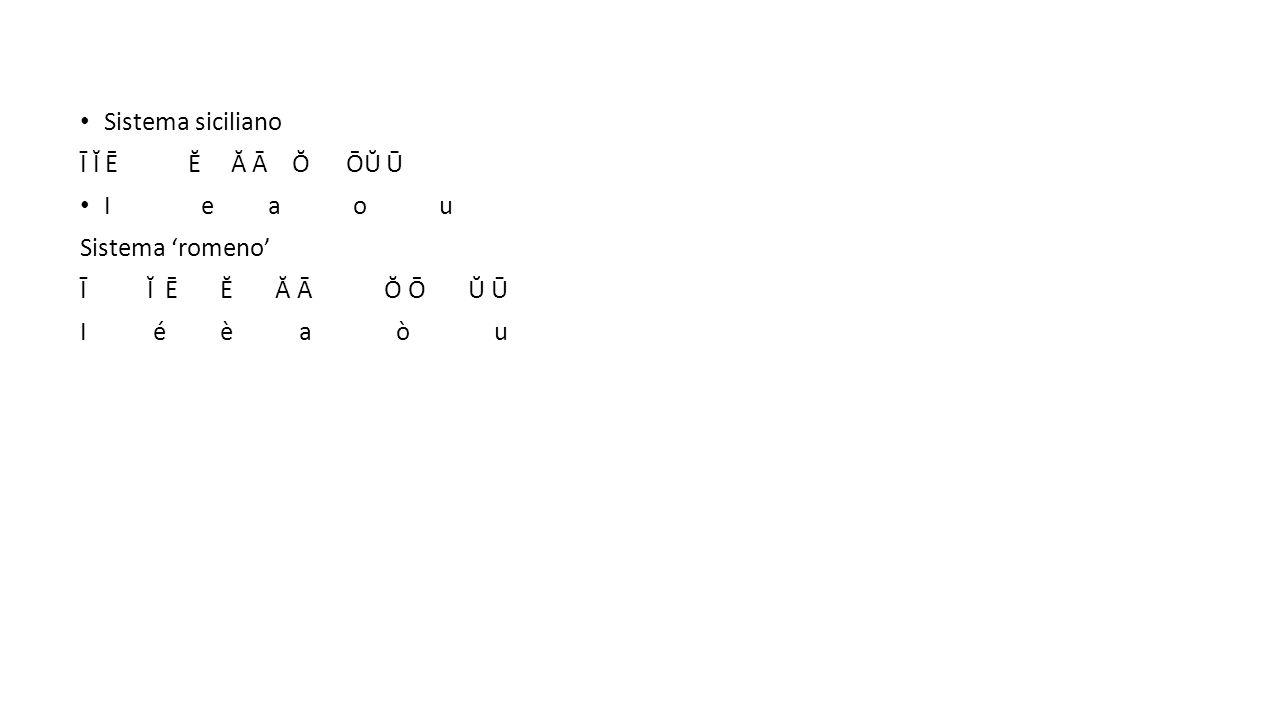 Sistema siciliano Ī Ĭ Ē Ĕ Ă Ā Ŏ ŌŬ Ū I e a o u Sistema 'romeno' Ī Ĭ Ē Ĕ Ă Ā Ŏ Ō Ŭ Ū I é è a ò u