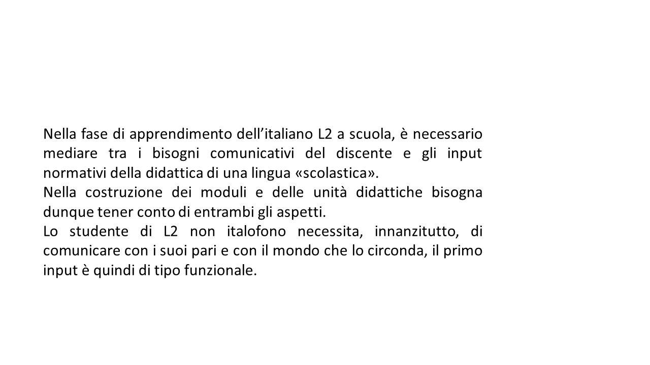 Nella fase di apprendimento dell'italiano L2 a scuola, è necessario mediare tra i bisogni comunicativi del discente e gli input normativi della didattica di una lingua «scolastica».