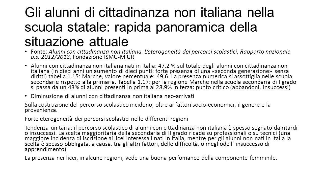 Gli alunni di cittadinanza non italiana nella scuola statale: rapida panoramica della situazione attuale Fonte: Alunni con cittadinanza non italiana.