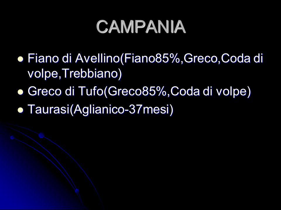 CAMPANIA Fiano di Avellino(Fiano85%,Greco,Coda di volpe,Trebbiano) Fiano di Avellino(Fiano85%,Greco,Coda di volpe,Trebbiano) Greco di Tufo(Greco85%,Co
