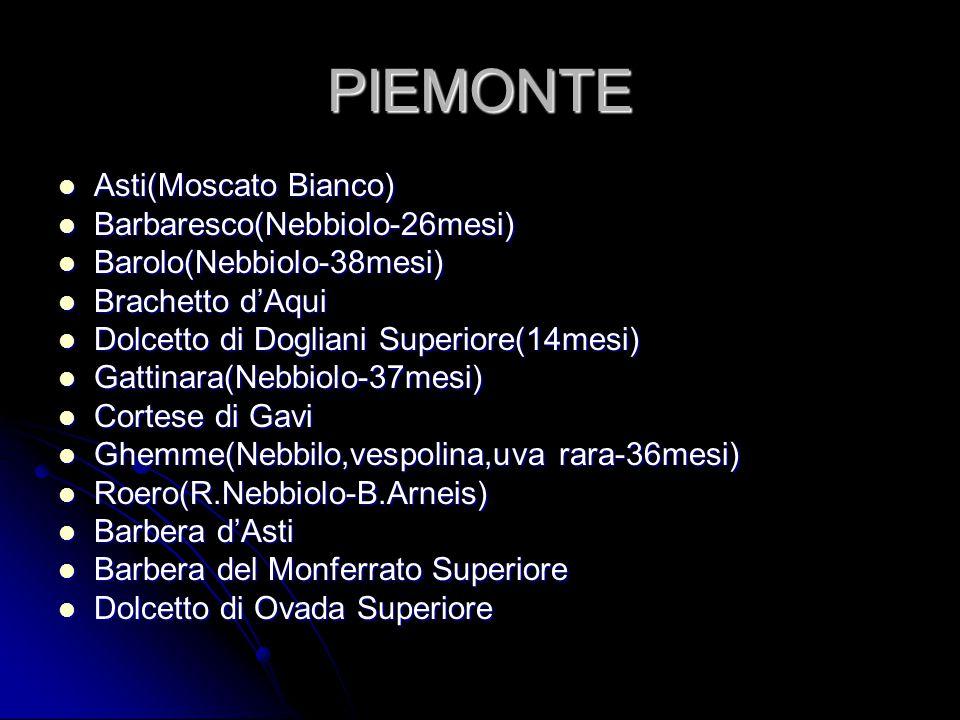 PIEMONTE Asti(Moscato Bianco) Asti(Moscato Bianco) Barbaresco(Nebbiolo-26mesi) Barbaresco(Nebbiolo-26mesi) Barolo(Nebbiolo-38mesi) Barolo(Nebbiolo-38m