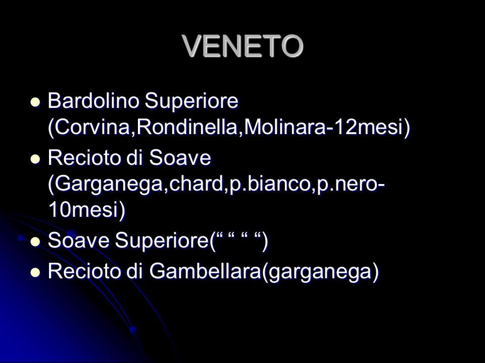VENETO Bardolino Superiore (Corvina,Rondinella,Molinara-12mesi) Bardolino Superiore (Corvina,Rondinella,Molinara-12mesi) Recioto di Soave (Garganega,c