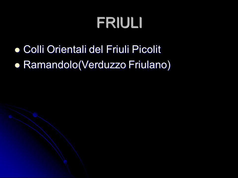 FRIULI Colli Orientali del Friuli Picolit Colli Orientali del Friuli Picolit Ramandolo(Verduzzo Friulano) Ramandolo(Verduzzo Friulano)