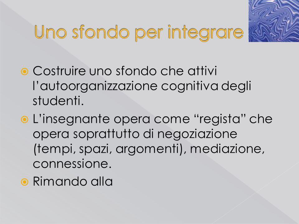 """ Costruire uno sfondo che attivi l'autoorganizzazione cognitiva degli studenti.  L'insegnante opera come """"regista"""" che opera soprattutto di negoziaz"""