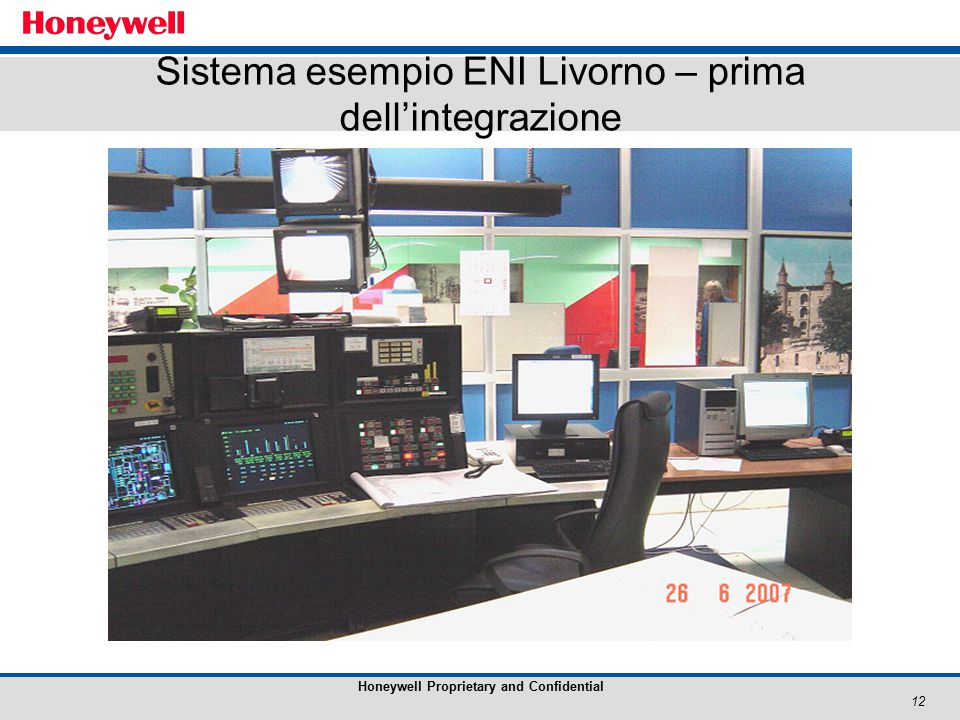 12 Honeywell Proprietary and Confidential Sistema esempio ENI Livorno – prima dell'integrazione