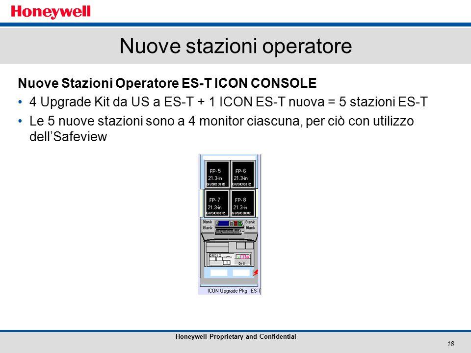 18 Honeywell Proprietary and Confidential Nuove stazioni operatore Nuove Stazioni Operatore ES-T ICON CONSOLE 4 Upgrade Kit da US a ES-T + 1 ICON ES-T nuova = 5 stazioni ES-T Le 5 nuove stazioni sono a 4 monitor ciascuna, per ciò con utilizzo dell'Safeview