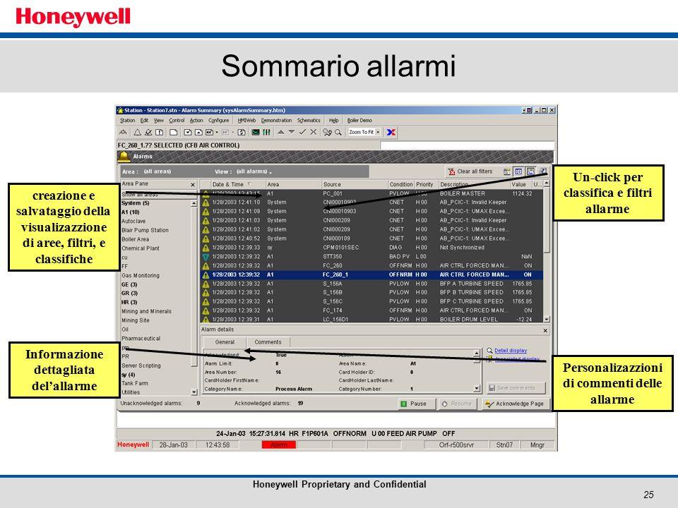 25 Honeywell Proprietary and Confidential Sommario allarmi Personalizazzioni di commenti delle allarme Informazione dettagliata del'allarme creazione e salvataggio della visualizazzione di aree, filtri, e classifiche Un-click per classifica e filtri allarme