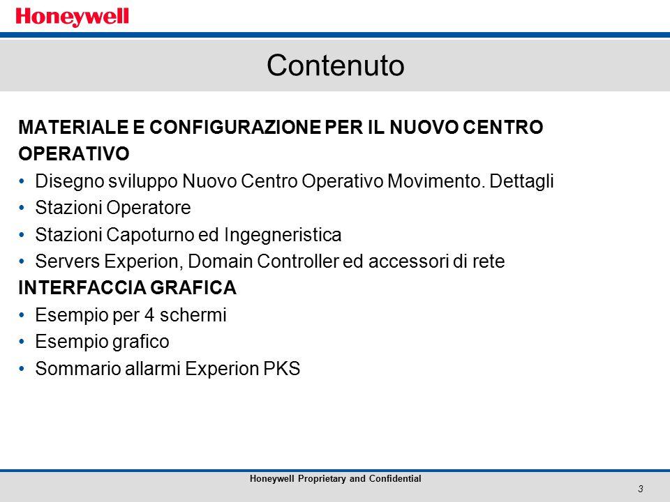 3 Honeywell Proprietary and Confidential Contenuto MATERIALE E CONFIGURAZIONE PER IL NUOVO CENTRO OPERATIVO Disegno sviluppo Nuovo Centro Operativo Movimento.