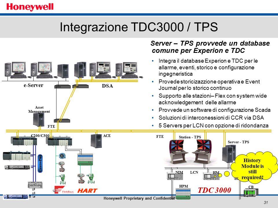 31 Honeywell Proprietary and Confidential Integrazione TDC3000 / TPS Server – TPS provvede un database comune per Experion e TDC Integra il database Experion e TDC per le allarme, eventi, storico e configurazione ingegneristica Provede storicizazzione operativa e Event Journal per lo storico continuo Supporto alle stazioni– Flex con system wide acknowledgement delle allarme Provvede un software di configurazione Scada Soluzioni di interconessioni di CCR via DSA 5 Servers per LCN con opzione di ridondanza NIM HGHM HPM CB AM TDC 3000 LCN Station - TPS ACE Server Station Fiber Optic Isolation Fiber Optic Isolation ControlNet C200/C300 HART FTE Asset Management e-Server DSA FTE Server - TPS History Module is still required!