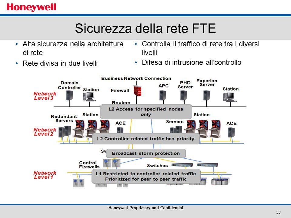 33 Honeywell Proprietary and Confidential Sicurezza della rete FTE Alta sicurezza nella architettura di rete Rete divisa in due livelli Controlla il traffico di rete tra I diversi livelli Difesa di intrusione all'controllo