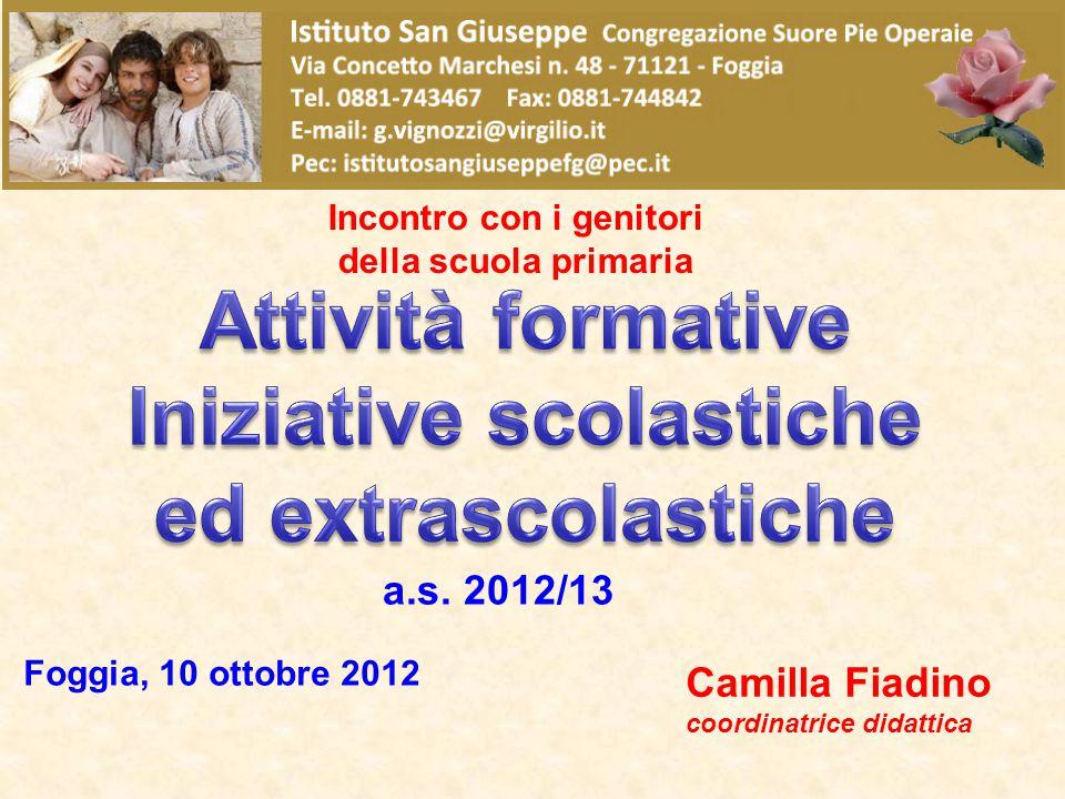 a.s. 2012/13 Incontro con i genitori della scuola primaria Foggia, 10 ottobre 2012 Camilla Fiadino coordinatrice didattica