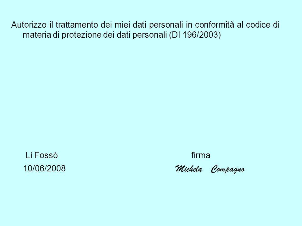 Autorizzo il trattamento dei miei dati personali in conformità al codice di materia di protezione dei dati personali (DI 196/2003) Lì Fossò firma 10/0