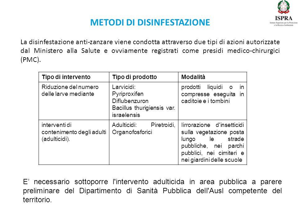 METODI DI DISINFESTAZIONE La disinfestazione anti-zanzare viene condotta attraverso due tipi di azioni autorizzate dal Ministero alla Salute e ovviame