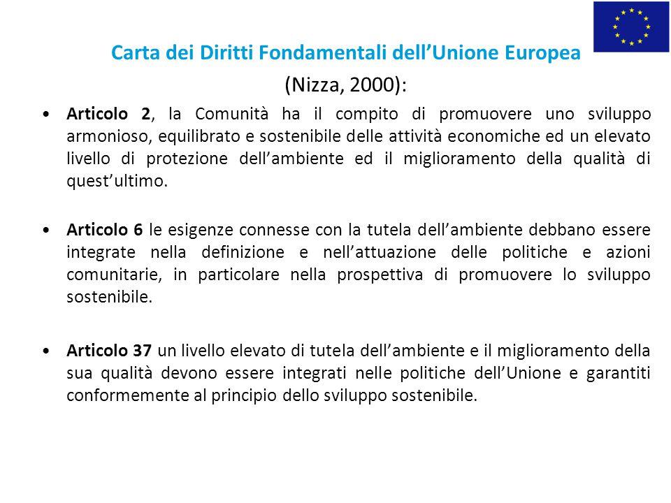Carta dei Diritti Fondamentali dell'Unione Europea (Nizza, 2000): Articolo 2, la Comunità ha il compito di promuovere uno sviluppo armonioso, equilibr
