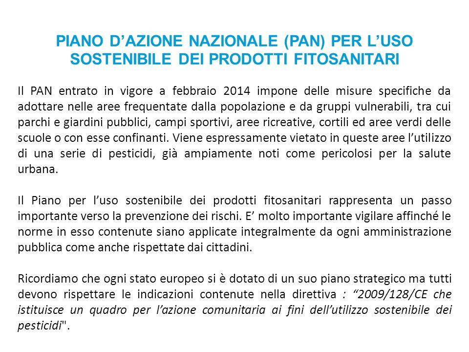 PIANO D'AZIONE NAZIONALE (PAN) PER L'USO SOSTENIBILE DEI PRODOTTI FITOSANITARI Il PAN entrato in vigore a febbraio 2014 impone delle misure specifiche