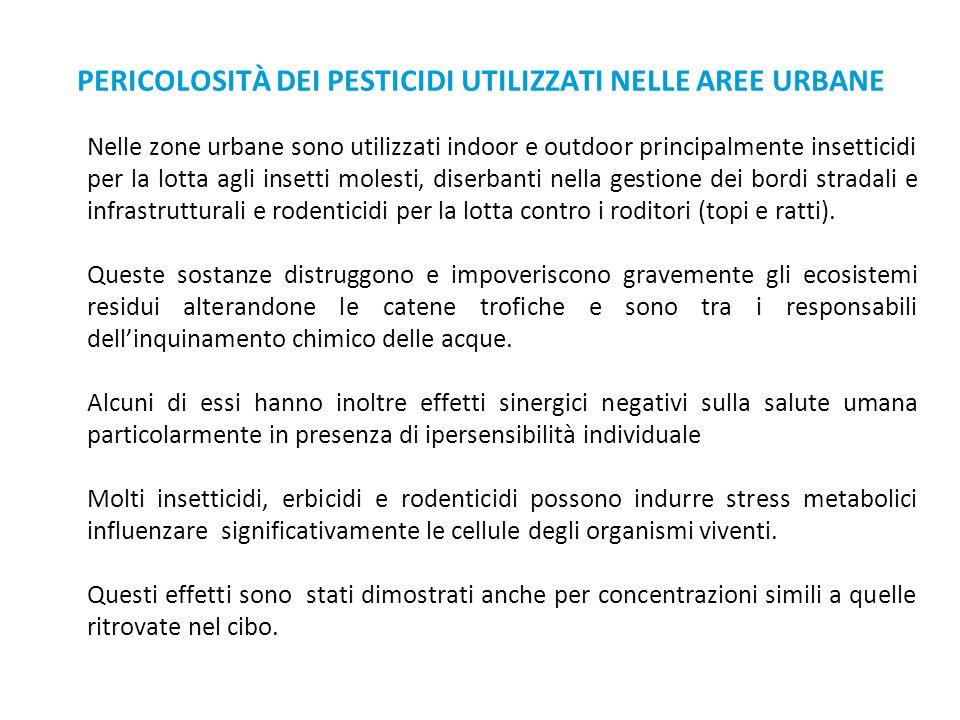 PERICOLOSITÀ DEI PESTICIDI UTILIZZATI NELLE AREE URBANE Nelle zone urbane sono utilizzati indoor e outdoor principalmente insetticidi per la lotta agl