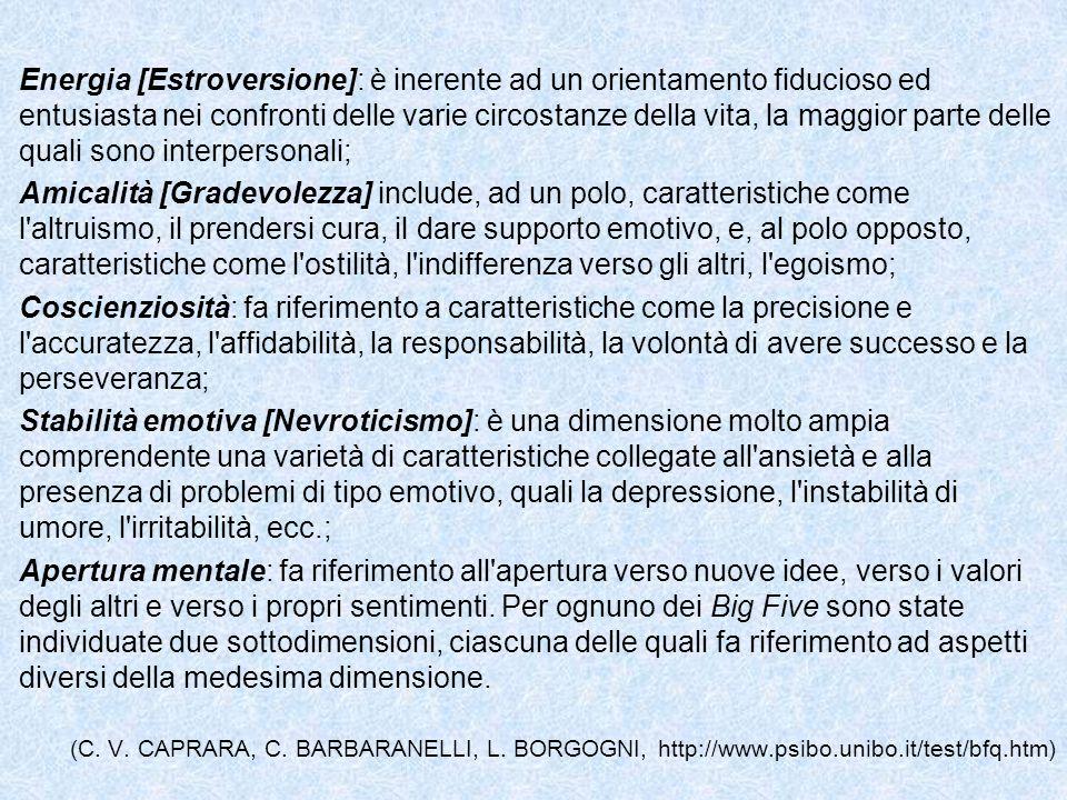 Energia [Estroversione]: è inerente ad un orientamento fiducioso ed entusiasta nei confronti delle varie circostanze della vita, la maggior parte dell