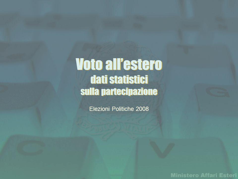 Voto all'estero dati statistici sulla partecipazione Elezioni Politiche 2008