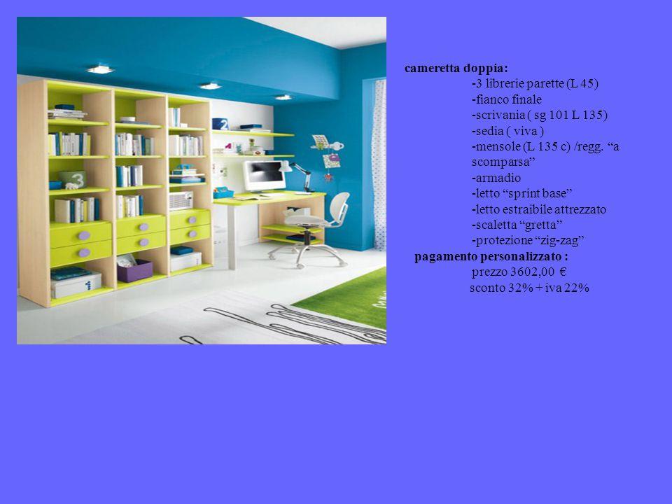 cameretta doppia: -3 librerie parette (L 45) -fianco finale -scrivania ( sg 101 L 135) -sedia ( viva ) -mensole (L 135 c) /regg.