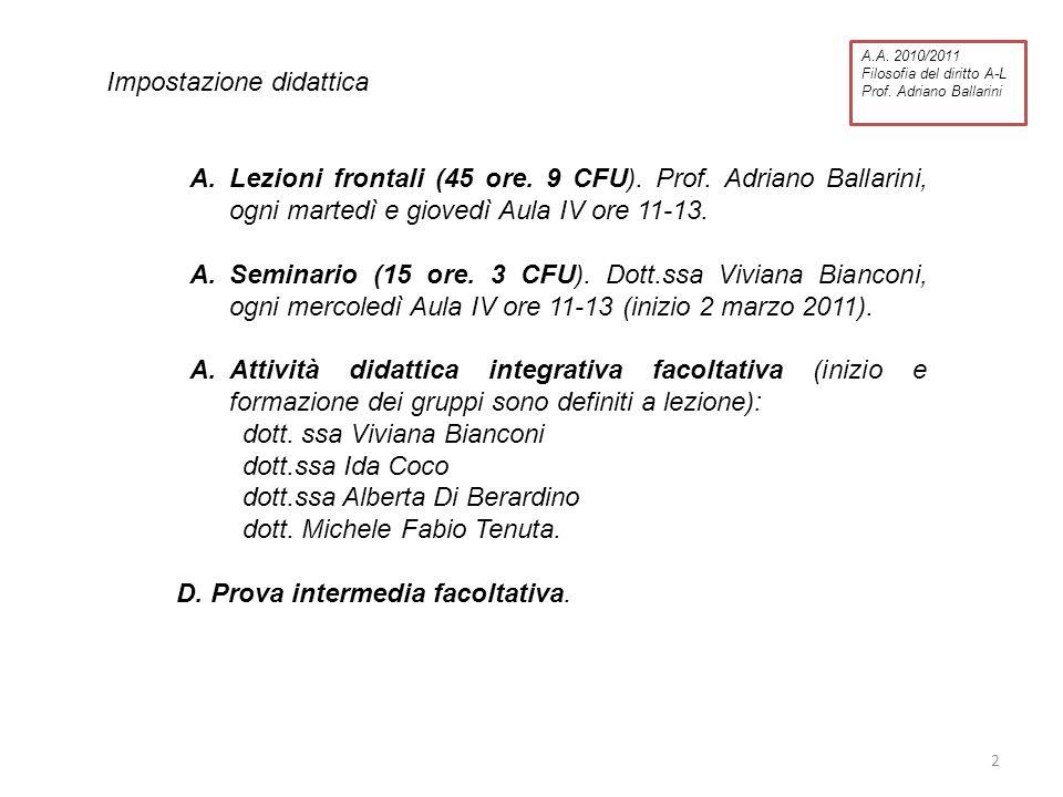 Impostazione didattica A.Lezioni frontali (45 ore. 9 CFU). Prof. Adriano Ballarini, ogni martedì e giovedì Aula IV ore 11-13. A.Seminario (15 ore. 3 C