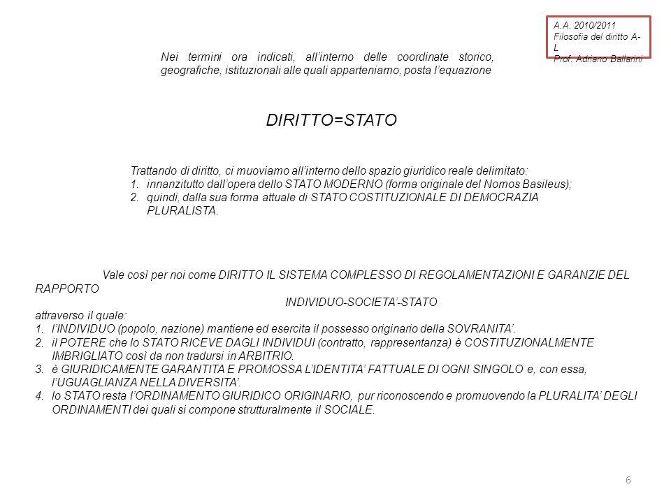 A.A.2010/2011 Filosofia del diritto A- L Prof.