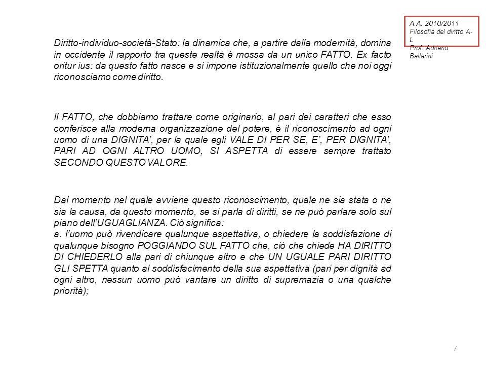 A.A. 2010/2011 Filosofia del diritto A- L Prof. Adriano Ballarini Diritto-individuo-società-Stato: la dinamica che, a partire dalla modernità, domina