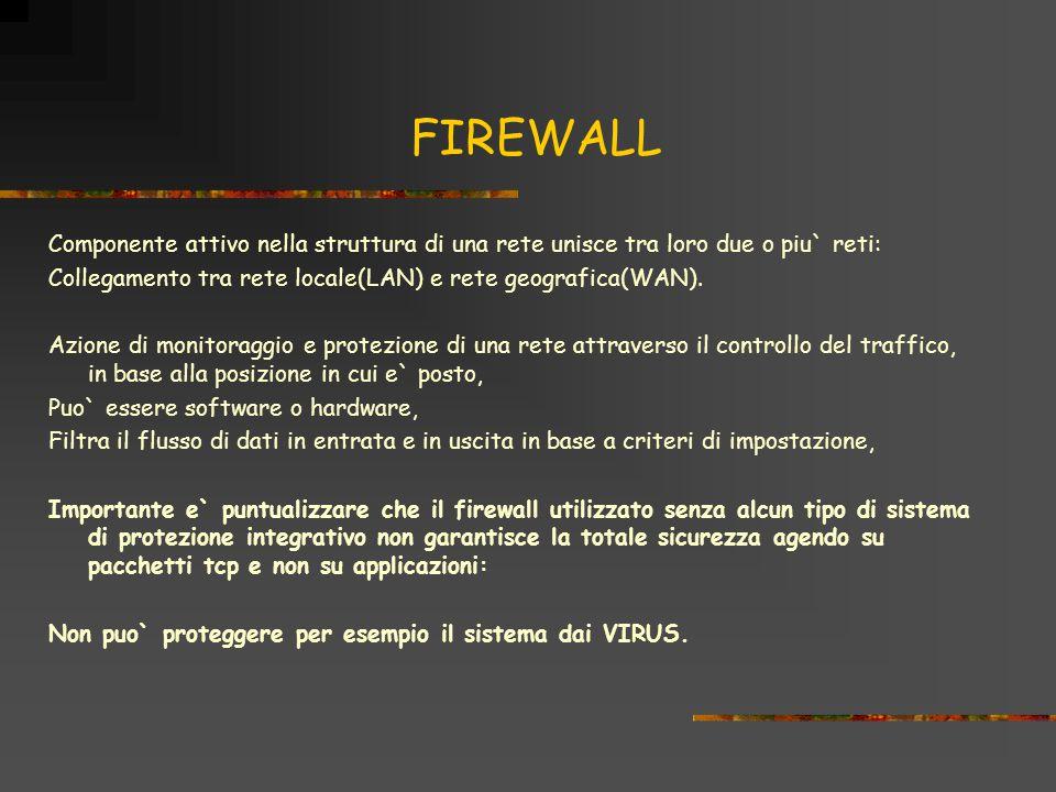 FIREWALL Componente attivo nella struttura di una rete unisce tra loro due o piu` reti: Collegamento tra rete locale(LAN) e rete geografica(WAN).