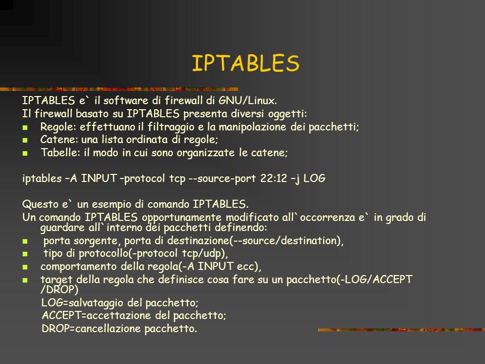 IPTABLES IPTABLES e` il software di firewall di GNU/Linux.
