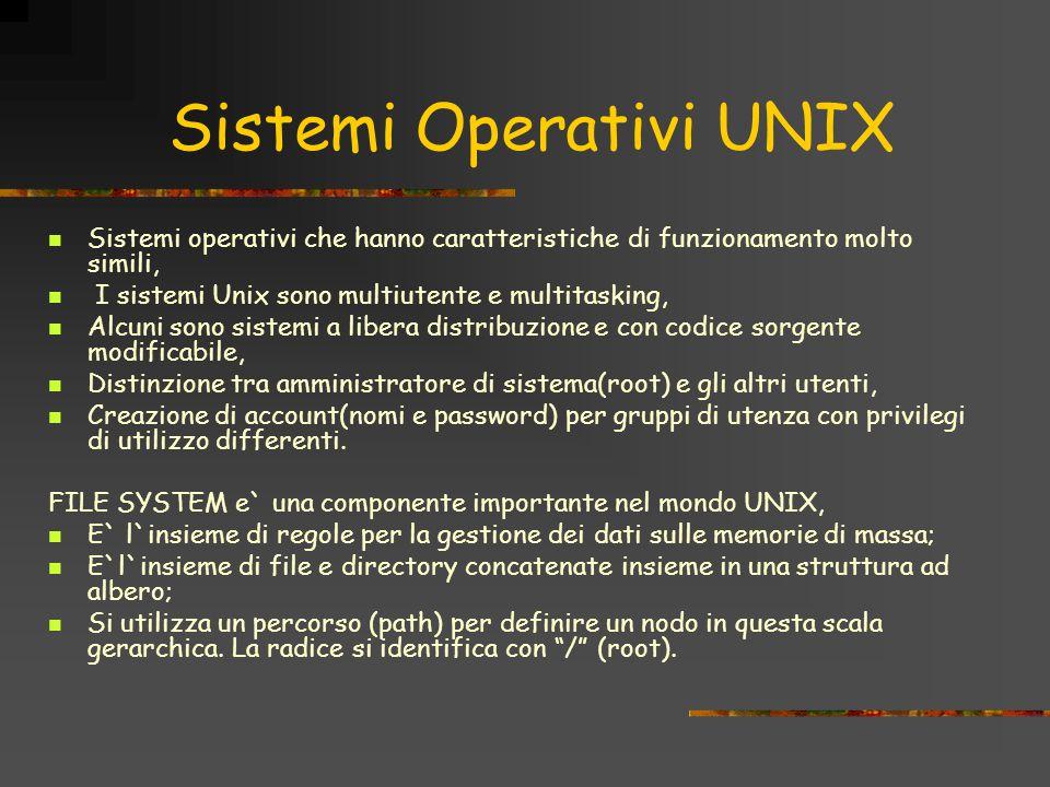 Sistemi Operativi UNIX Sistemi operativi che hanno caratteristiche di funzionamento molto simili, I sistemi Unix sono multiutente e multitasking, Alcuni sono sistemi a libera distribuzione e con codice sorgente modificabile, Distinzione tra amministratore di sistema(root) e gli altri utenti, Creazione di account(nomi e password) per gruppi di utenza con privilegi di utilizzo differenti.