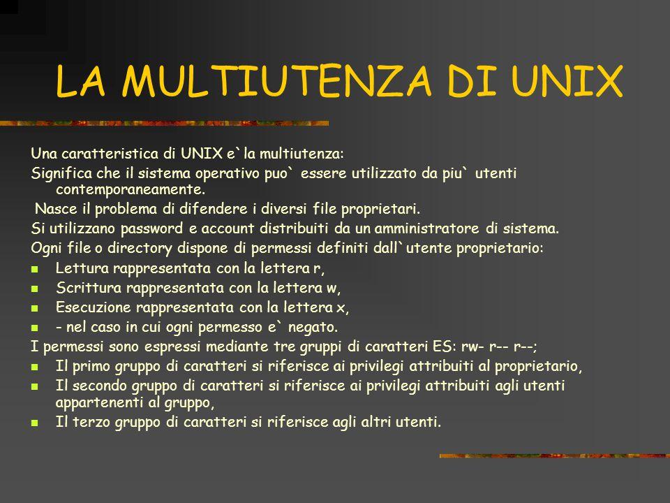 LA MULTIUTENZA DI UNIX Una caratteristica di UNIX e`la multiutenza: Significa che il sistema operativo puo` essere utilizzato da piu` utenti contemporaneamente.