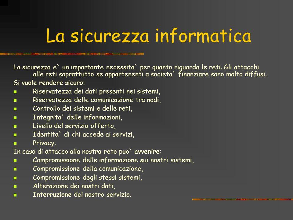 La sicurezza informatica La sicurezza e` un importante necessita` per quanto riguarda le reti.