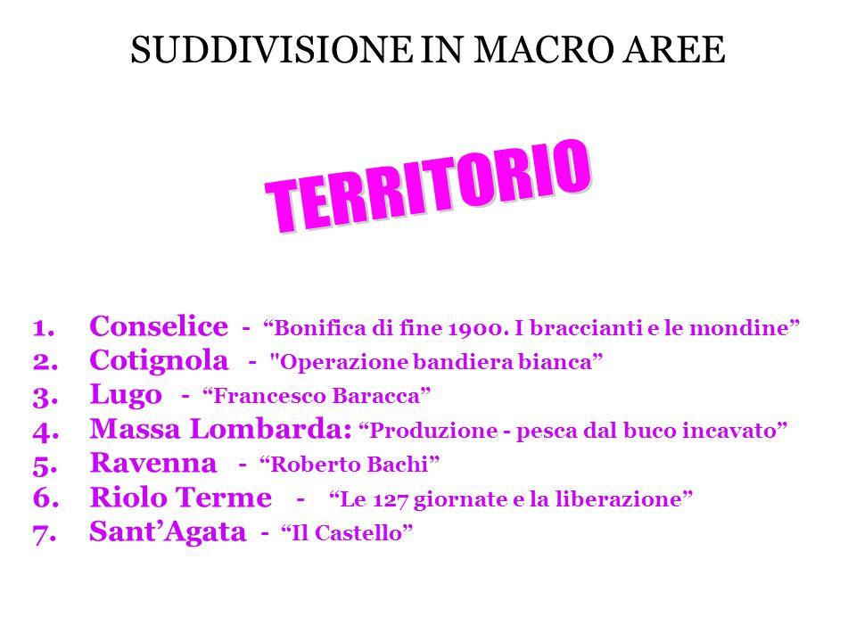 """SUDDIVISIONE IN MACRO AREE 1.Conselice - """"Bonifica di fine 1900. I braccianti e le mondine"""" 2.Cotignola -"""